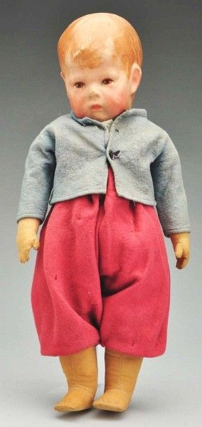"17"" cloth Doll I doll with jointed body, wearing original clothes, Germany, 1912-1931, by Käthe Kruse."