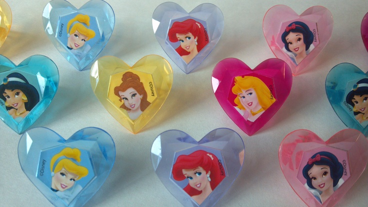 Disney Princess cupcake rings picks or cake toppers, perfect for royal birthday party or treat bag favors, crown jewel heart. $6.50, via Etsy. Can customize amount