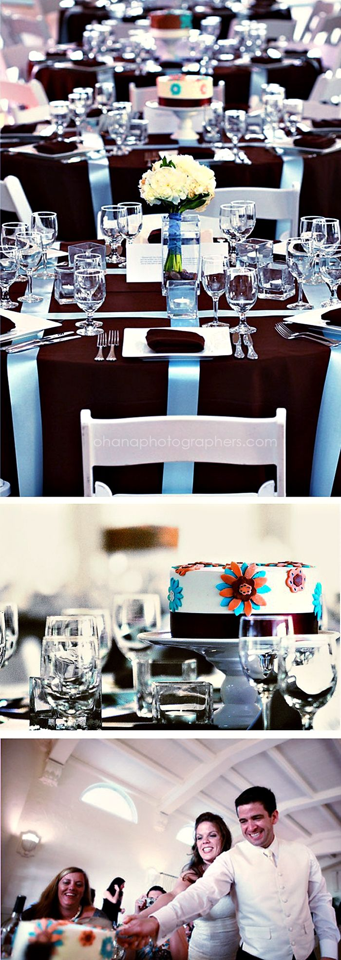 The Thursday Club Wedding // San Diego //    Individual wedding cakes (different flavors) at each guest table.  The couple will come to each table to cut a piece. LOVED this idea!!!
