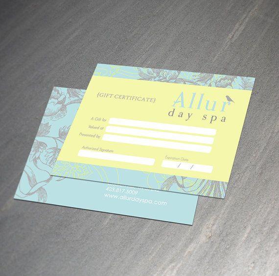 custom gift certificate design. $30.00, via Etsy.