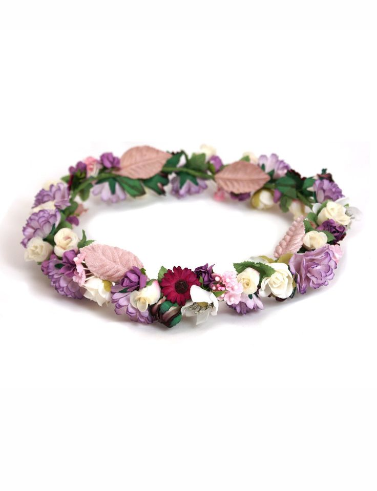 Tocado para el pelo corona flores moradas tocados de - Coronitas de flores ...