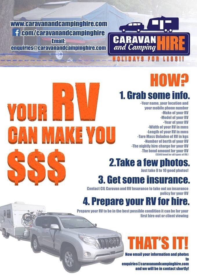 Hire out your Caravan and make some really easy money. Contact us now for more info www.caravanandcampinghire.com