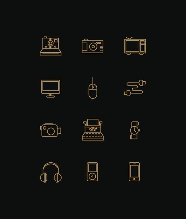 Icon designs / copper pictogram on dark