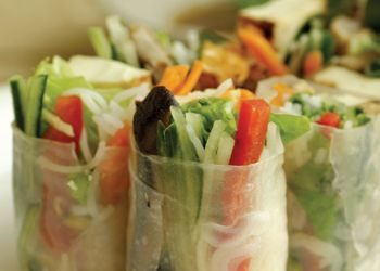 Rice Paper Wrapped Salad Rolls, goi cuon   (serves 6 to 8 as appetizers)