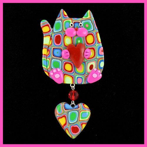 Multi Color Retro & Pink Kitty Cat & Heart by artsandcats, via Flickr