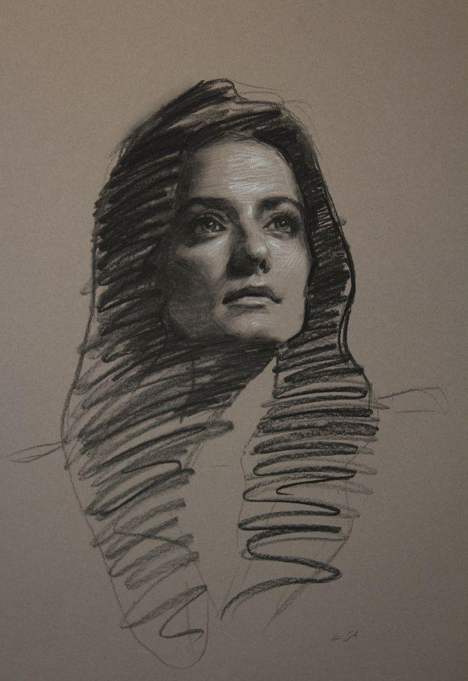 "Teresa Oaxaca ""Sarah"", 18x26"", charcoal and white chalk on Canson paper"