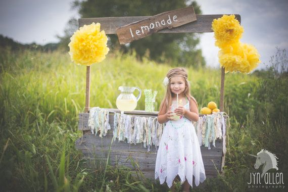 Handmade Upcycled Childs Lemonade Stand Photography Prop made of Weathered Barn Wood