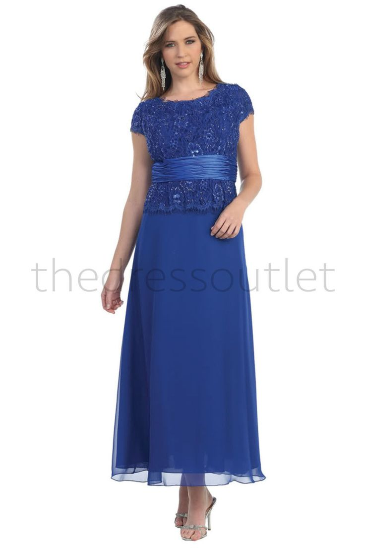 Formal Short Sleeve Mother of the Bride Long Dress Plus Size