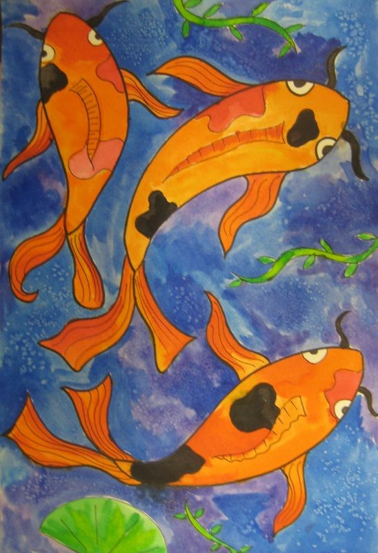 25 best water theme art images on pinterest pisces fish for Koi fish pond for beginners