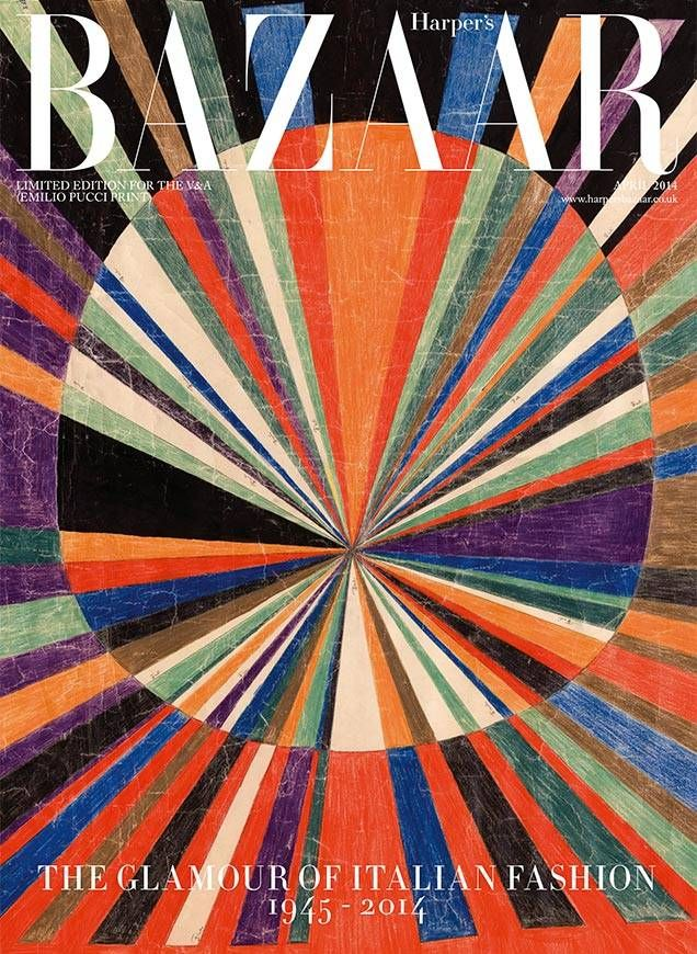 HARPER'S BAZAAR, EMILIO PUCCI APRIL 2014 COVER: limited edition for the victoria & albert museum exhibit.