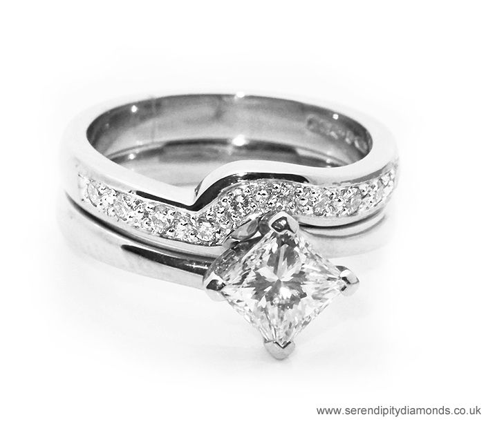 Shaped Diamond Wedding Ring To Fit Around Our R1D035 Princess Solitaire With Twist Design Border