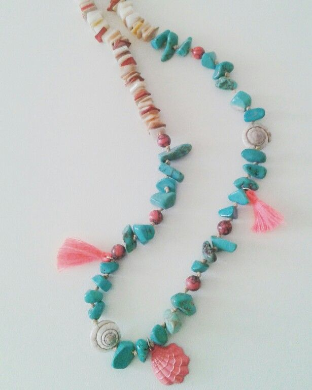 Long boho necklace with mother of pearl