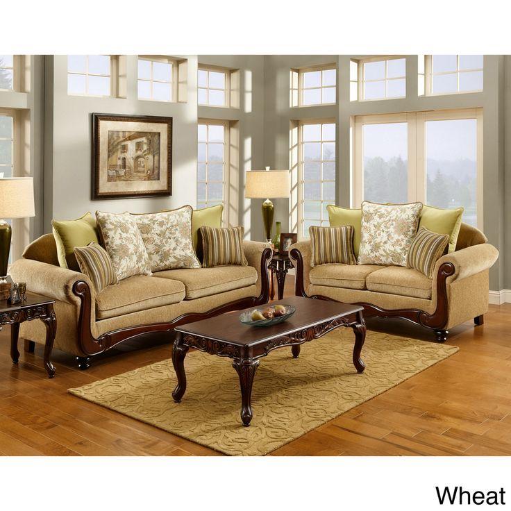 Furniture of America Senous 2-piece Caramel Espresso Sofa Set - Overstock™ Shopping - Big Discounts on Furniture of America Living Room Sets