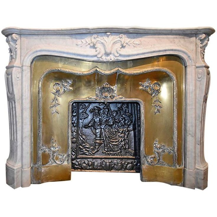 Antique Marble Fireplace Mantel Model Louis XV, 19th Century