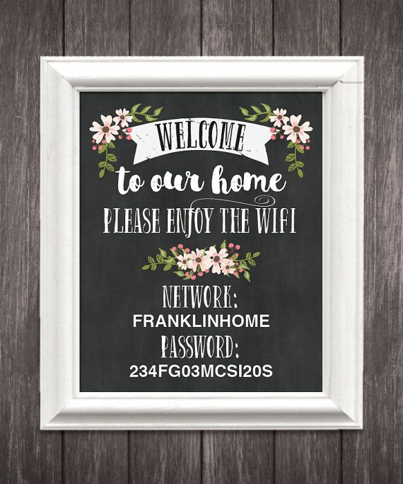 WiFi Password Sign 8 x 10 and 5 x 7 WiFi by CreativeUnionDesign