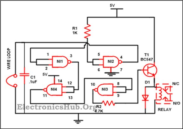 Dld Mini Projects Circuit Diagram Vl Wiring Stereo Luggage Security Alarm Project Using Logic Gates | Nand Gate, And ...