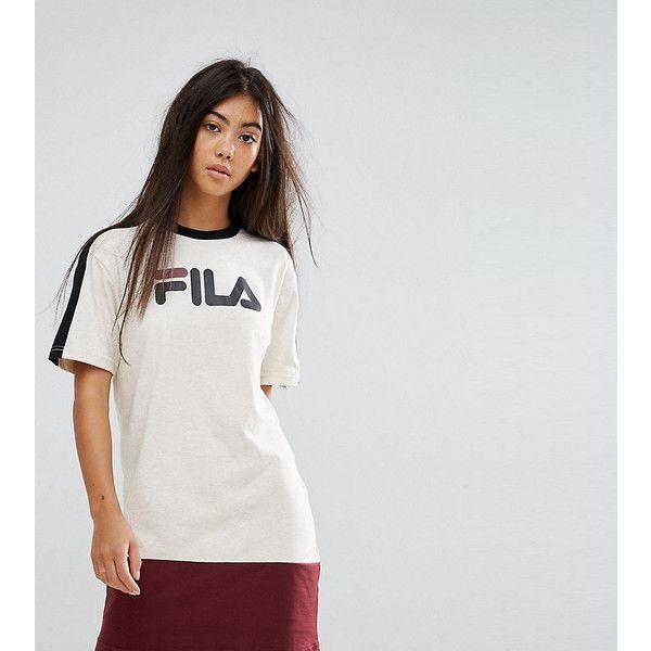Fila Petite Colour Block Tshirt Dress With Logo Detail (2,665 DOP) ❤ liked on Polyvore featuring dresses, multi, tall t shirt dress, short sleeve dress, pattern dress, fila dress and short sleeve t shirt dress