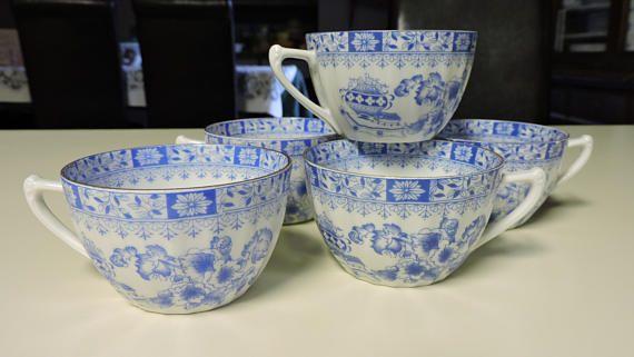 Set of 5 Seltmann Weiden CHINA BLAU Blue Teacup Bone China