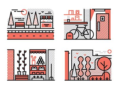 A selection of spot editorial illustrations we created recently for Monocle's new publication, The Forecast.  The article dealt with how cities can better utilise small spaces.