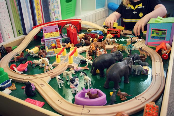 "Turning the train table into a zoo safari ("",)"