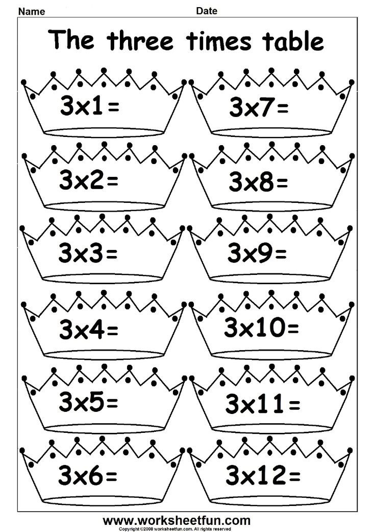 2, 3, 4, 5, 6, 7, 8, 9, 10, 11 and 12 Times Table - Fun times table worksheets