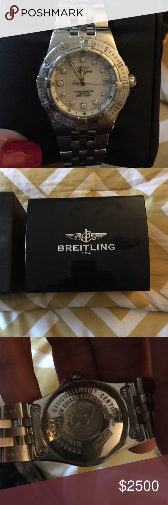 Breitling ladies watch Pink Mother of pear face with diamonds on the hours. Breitling Accessories Watches