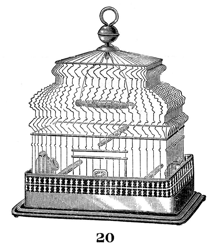 Vintage Clip Art - Nice Wire Birdcage - The Graphics Fairy