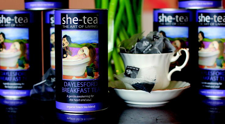 Daylesford Breakfast Tea - this canister was inspired by the beauty of lavandula and the fact that so many people come to Daylesford to relax and unwind.  The idea of a woman bathing while a man plays a violin is one I have revisited time and again as I love the sense of opulence, and the implied respect and privacy with the violinist's closed eyes.  I think I will probably paint another version of this piece.