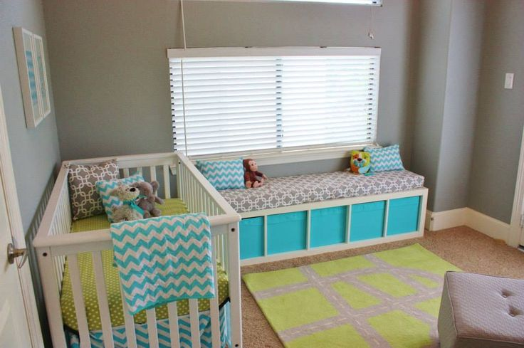 Turn an @IKEA USA storage unit on its side and add a cushion and you've got an adorable bench in the #nursery!Green Baby, Baby Boys, Baby Boy Nurseries