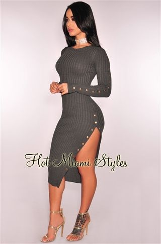 Charcoal Ribbed Knit Button Up Dress