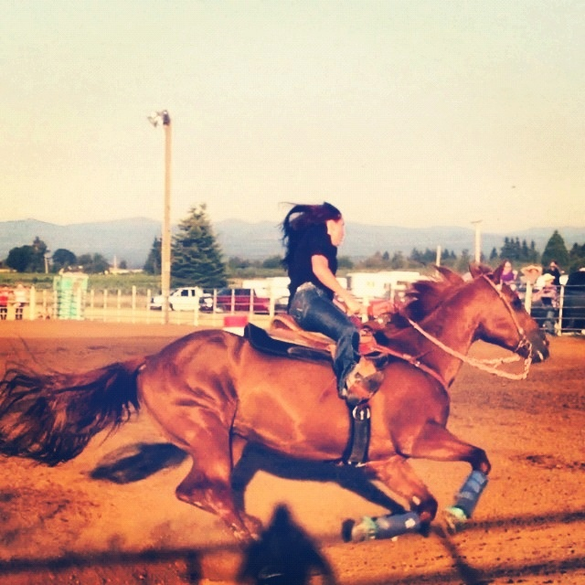 Barrel racing I hope you like dust, because once I go through the gate that's all your gunna see!!