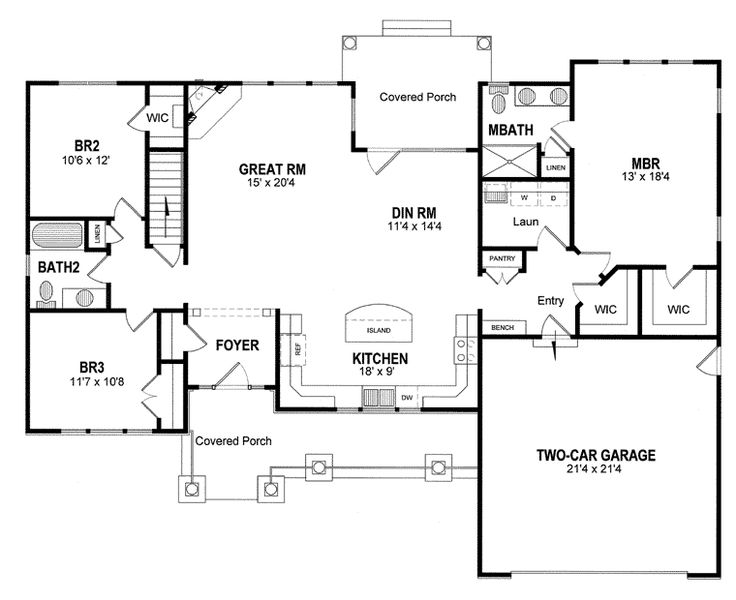First Floor Plan of Cottage Craftsman Ranch House Plan 94182. Where to put computer desk & piano?