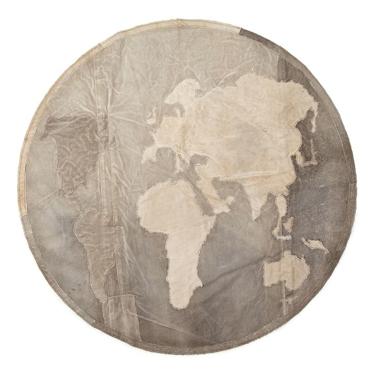 RECYCLED ARMY CANVAS CIRCULAR RUG | handmade from reclaimed tents and track tarps in India.