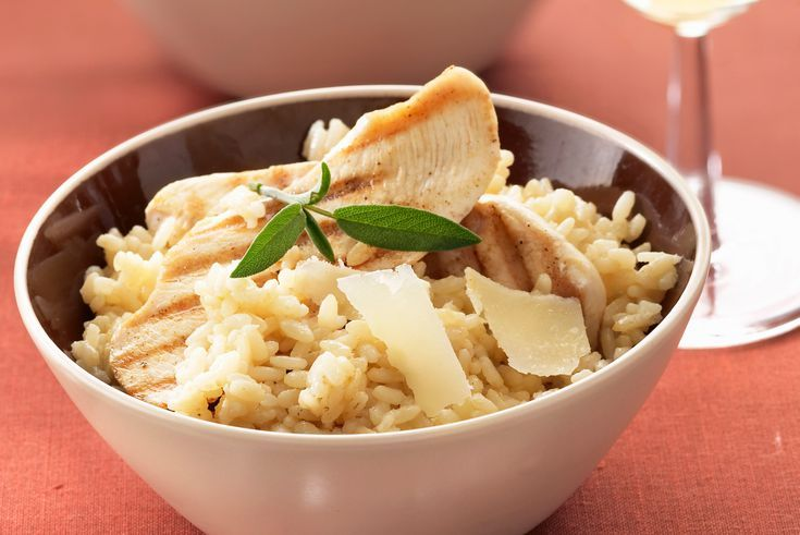 Savory Chicken Risotto Made with Grilled or Poached Chicken Breasts