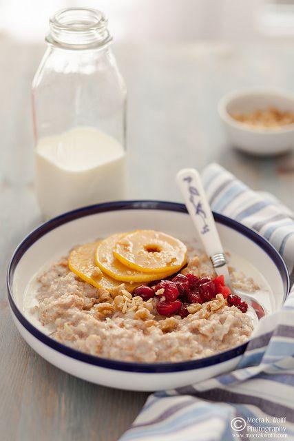 Porridge with Caramelized Quince Cranberries.