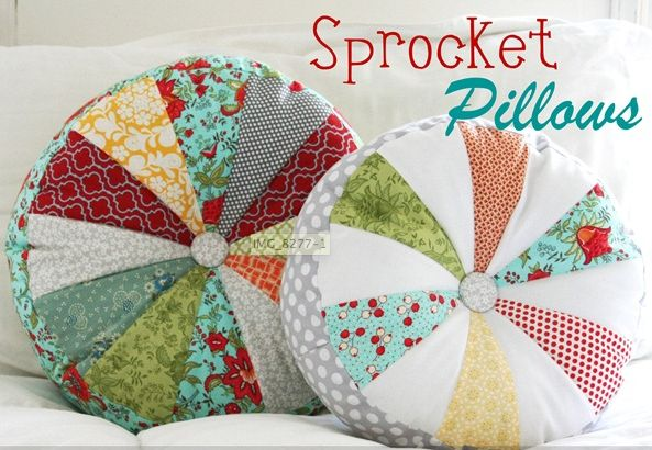 :: Meet Me At Mikes : Good Stuff For Nice People: :: The One About Making The Round Patchwork Pillows: Sprocket Pillows, Cute Pillows, Fabrics Scrap, Pillows Patterns, Pillows Tutorials, Floors Pillows, Throw Pillows, Cluck Cluck Sewing, Diy Pillows