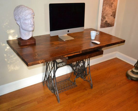 Desk Reclaimed Wood Desk Sewing Machine Base Wood