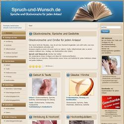 Spruch-und-Wunsch.de - die Webseite, wenn es im gute Glückwünsche, Sprüche und Gedichte geht.  Texte und Vorlagen für eine Glückwunschkarte, Dankeskarte oder Grußkarte zu jedem Anlass.  Grüße zu Festen wie der Hochzeit, dem Geburtstag oder zu Weihnachten.