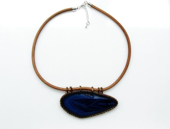 Blue Agate Bib Necklace, Large Choker Necklace, Blue Agate Slice Statement Necklace by ThezoraArtBijoux on Etsy