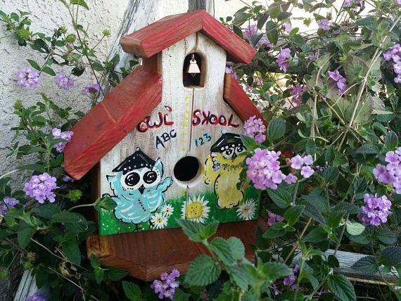 Outdoor Birdhouse Spring Owl School Redwood BirdHouse Yard