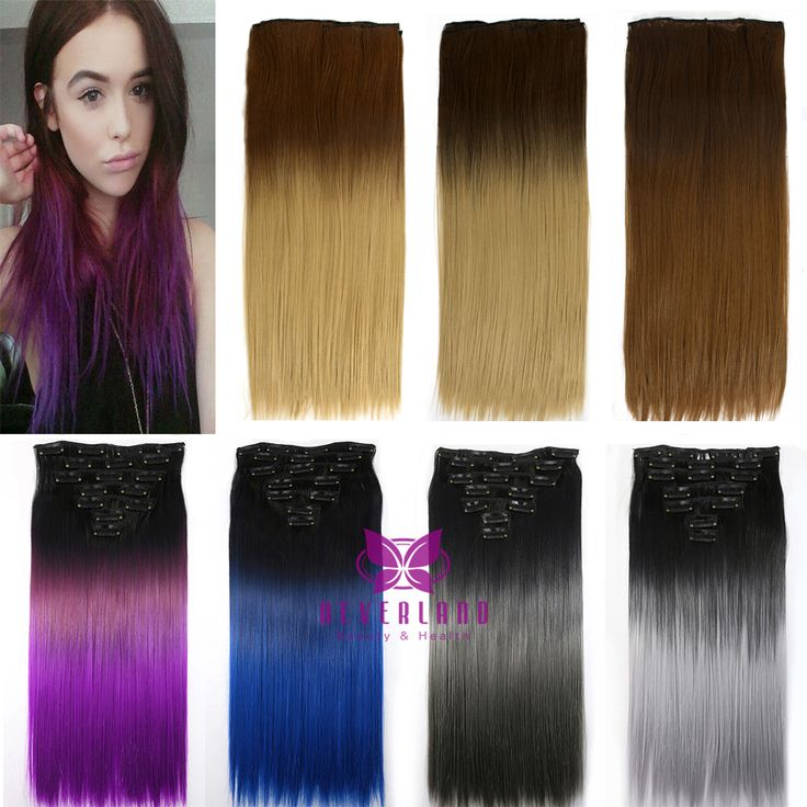 143 best synthetic hair images on pinterest synthetic hair hair 60cm 16clips colorful women synthetic straight hairpiece ombre clip in hair extensions for beauty girl fashion pmusecretfo Choice Image
