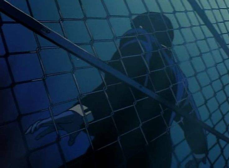 Wicked City (1987) Man against the chain-link fence