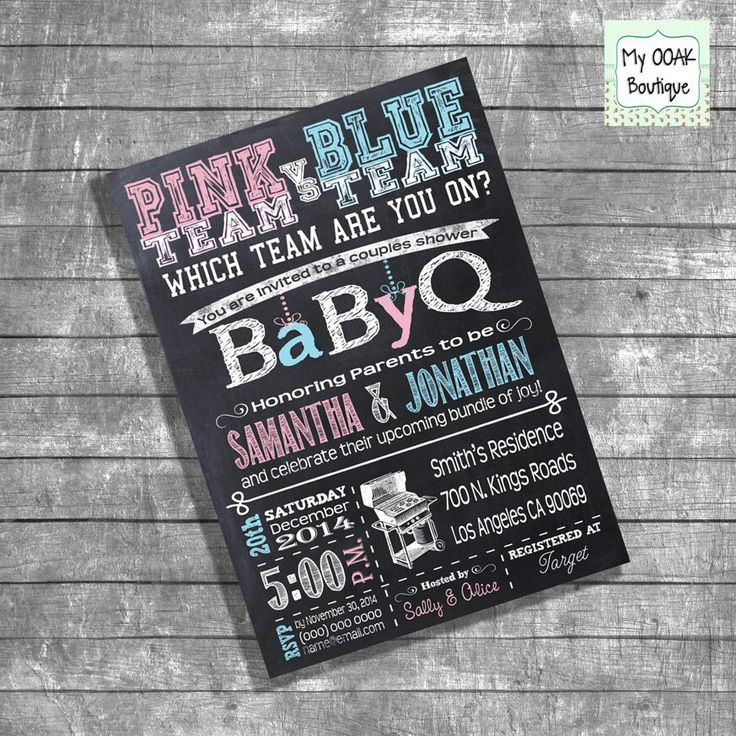 free evite photo invitations%0A Couples shower invitation Baby Q invite Coed shower invitation team pink  blue chalkboard digital invittation you