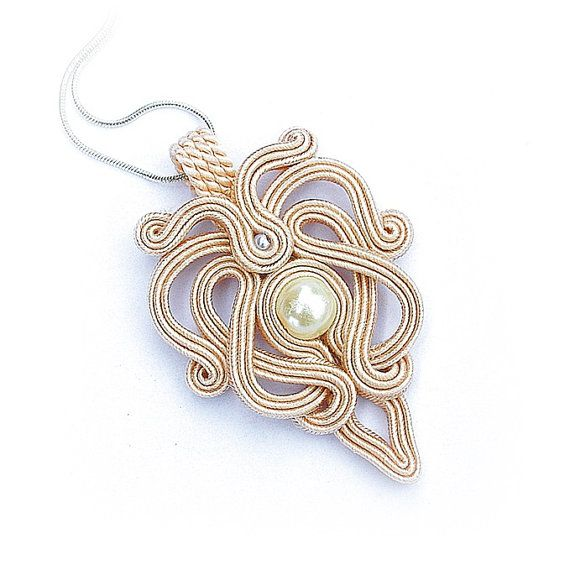 Soutache pendant necklace beige delicate by DecomamaPoland on Etsy