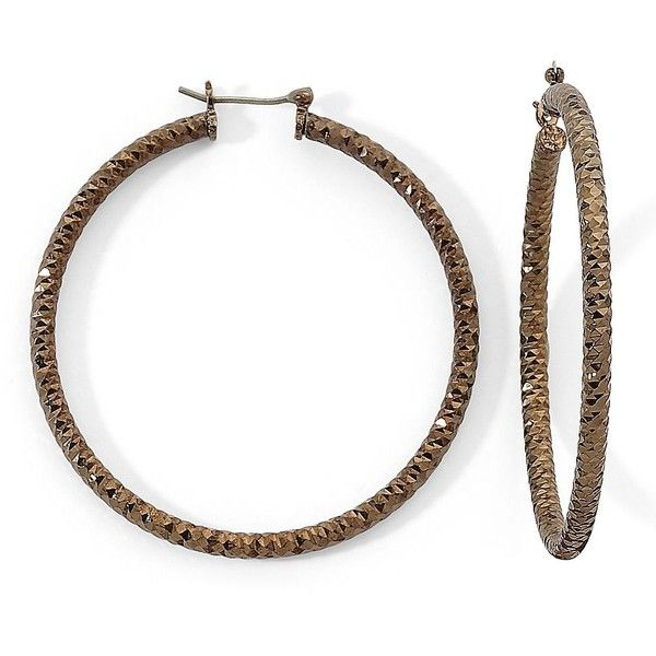 Monet Bronze-Tone Hoop Earrings Brnz ($28) ❤ liked on Polyvore featuring jewelry, earrings, women, bronze hoop earrings, hinged hoop earrings, hinged earrings, monet earrings and brown earrings