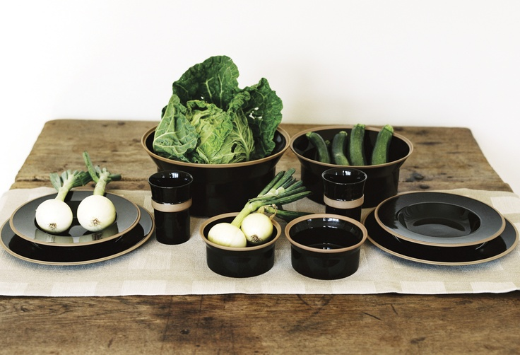 STILL LIFE WITH BLACK UMBRA DINNERWARE, BY SIGNE PERSSON-MELIN