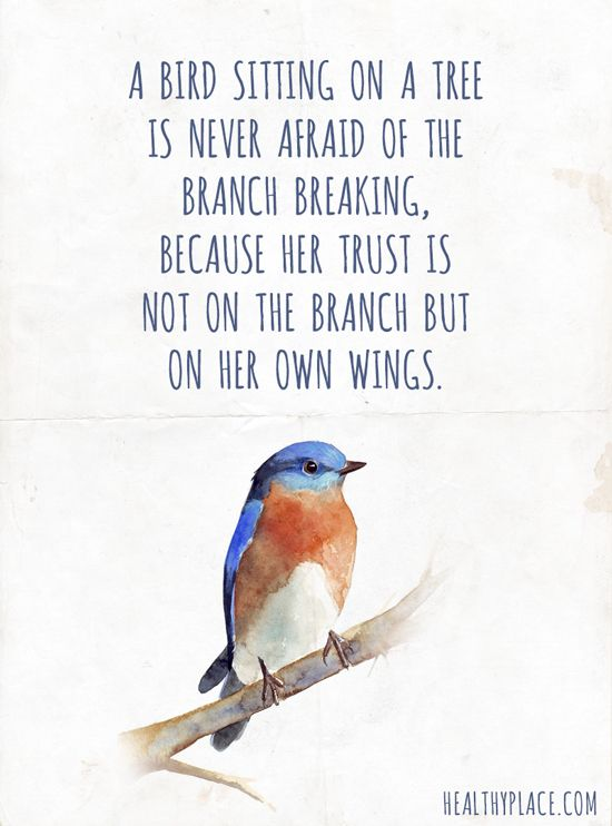 Positive Quote: A bird sitting on a tree is never afraid of the branch breaking, because her trust is not on the branch but on her own wings.