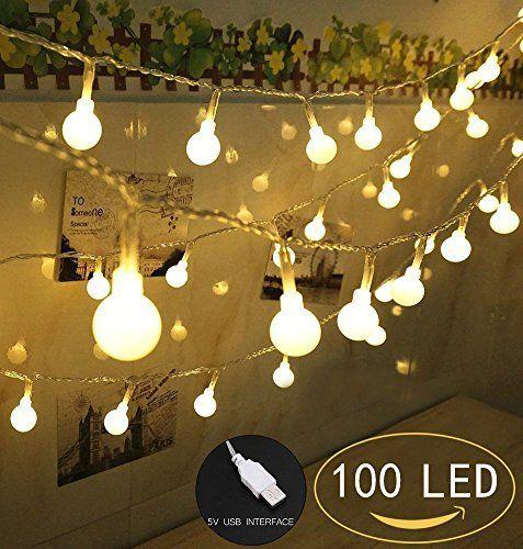100 LED Globe String Lights Ball Christmas Lights Indoor / Outdoor