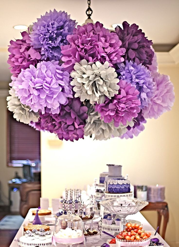 paper poms, purple ombre party, first birthday, gourmaya.tumblr.com