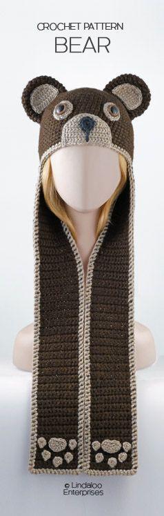 "Amigurumi Crocheted Bear Hat, pattern from the book ""Amigurumi Animal Hats Growing Up"" by Linda Wright."
